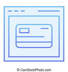 Online card registration flat icon. Web shopping blue icons in trendy flat style. Computer browser and credit card gradient style design, designed for web and app. Eps 10.