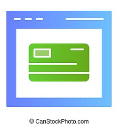 Online card registration flat icon. Web shopping color icons in trendy flat style. Computer browser and credit card gradient style design, designed for web and app. Eps 10.