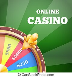 Online Casino and Wheel Banner Vector Illustration
