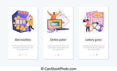 Online casino app interface template.