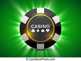 Online casino banner. Black poker chip. Gambling, Poker...