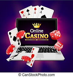 Online casino banner concept with laptop. Poker design or fortune casino gambling. Dice and chips vector illustration