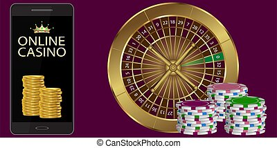 online casino banner on a maroon background. vector illustration.