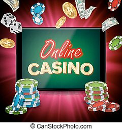 Online Casino Banner Vector. Realistic Tablet. Flying Dollar Coins, Banknotes Explosion. Winner Concept. Jackpot Billboard, Marketing Luxury Illustration.