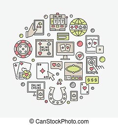Online casino circular illustration