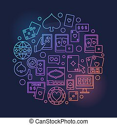 Online casino colored illustration - Online casino round...