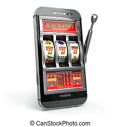 Online casino concept. Mobile phone and slot machine with jackpot.