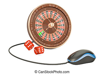 Online Casino concept. Roulette with computer mouse, 3D rendering