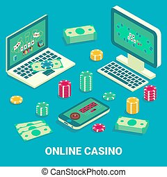 Online casino concept vector flat isometric illustration