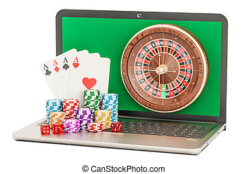 Online Casino concept with laptop, 3D rendering