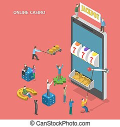 Online casino flat isometric vector concept.