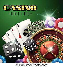 Online casino gambling vector background with roulette, dice and poker cards