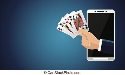 Online casino game HD animation - Hand with cards inside...
