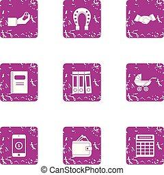 Online casino icons set, grunge style