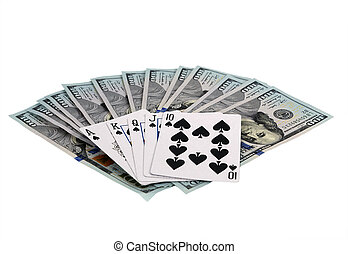 Online casino playing cards isolated on white