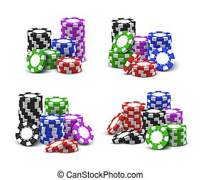 Online casino poker chips stacks and piles