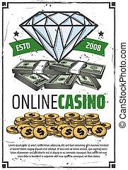 online, casino, pook, geluksspelletjes, spel, winnen