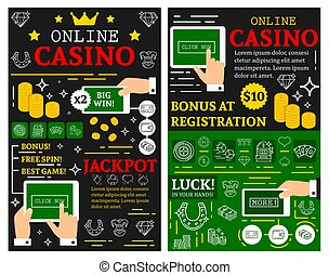 online, casino, pook, jackpot, vector, affiches