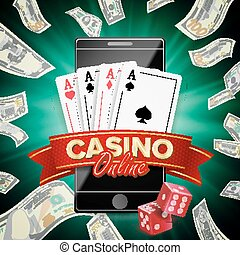 Online Casino Poster Vector. Modern Mobile Smart Phone Concept. Jackpot Casino Billboard, Signage, Marketing Luxury Banner, Poster Illustration.