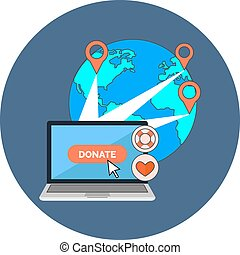 Online charity, donate concept. Flat design.