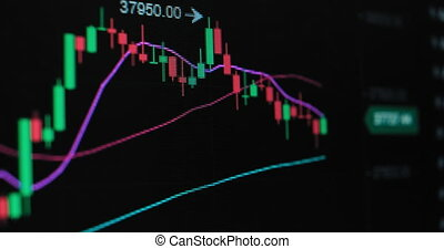 Bright online charts present cryptocurrency exchange rate in stock trading app on modern gadget black screen macro view
