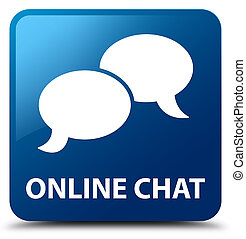 Online chat blue square button