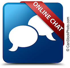 Online chat blue square button red ribbon in corner