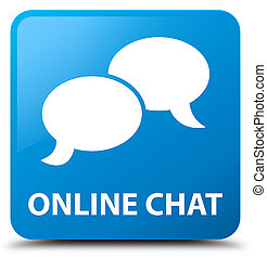 Online chat cyan blue square button