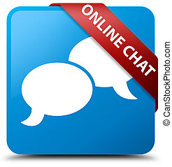 Online chat cyan blue square button red ribbon in corner