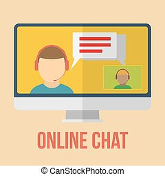 Online chat icon. Flat design vector illustration.