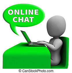 Online Chat Means Internet Messages 3d Rendering