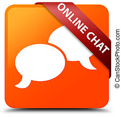 Online chat orange square button red ribbon in corner