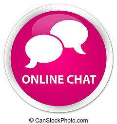 Online chat premium pink round button