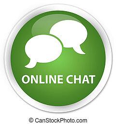 Online chat premium soft green round button