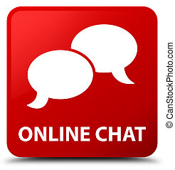 Online chat red square button