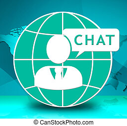 Online Chat Showing Internet Messages 3d Illustration