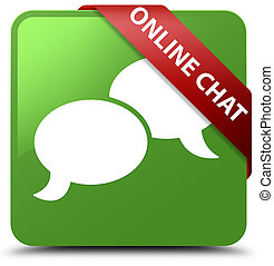 Online chat soft green square button red ribbon in corner