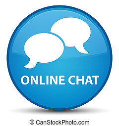 Online chat special cyan blue round button