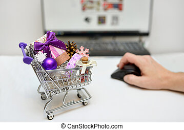 Online Christmas Shopping Cart on desk