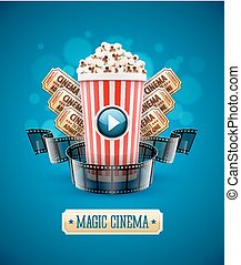 Online cinema art movie watching with popcorn