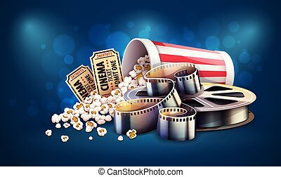 Online cinema creative art movie watching with popcorn, tickets, director clapper and reel film-strip cinematography concept. Realistic objects layout. blue background with lighting effects and bokeh. Eps10 vector illustration.