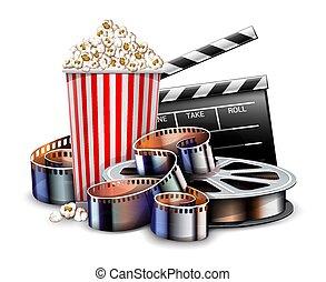Online cinema art movie watching with popcorn. Vector.