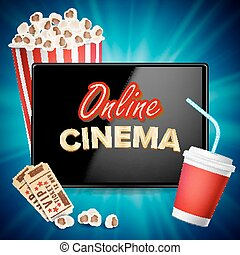 Online Cinema Banner Vector. Realistic Tablet. Popcorn, Drink, Clapping Board. Billboard, Marketing Luxury Illustration.
