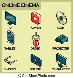 Online cinema color outline isometric icons
