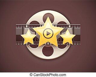 Online cinema icon logo concept with film