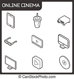 Online cinema outline isometric icons