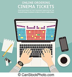 Online cinema ticket order flat design concept