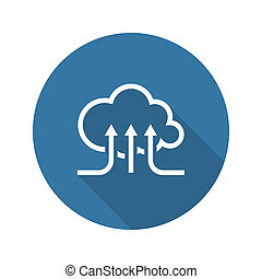 Online Cloud Services. Flat Design Icon. Long Shadow.