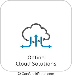 Online Cloud Solutions. Flat Design Icon. Isolated...