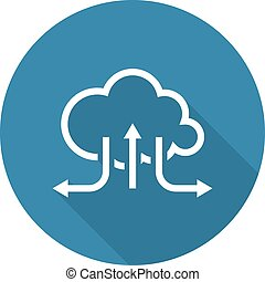 Online Cloud Solutions. Flat Design Icon. Long Shadow....